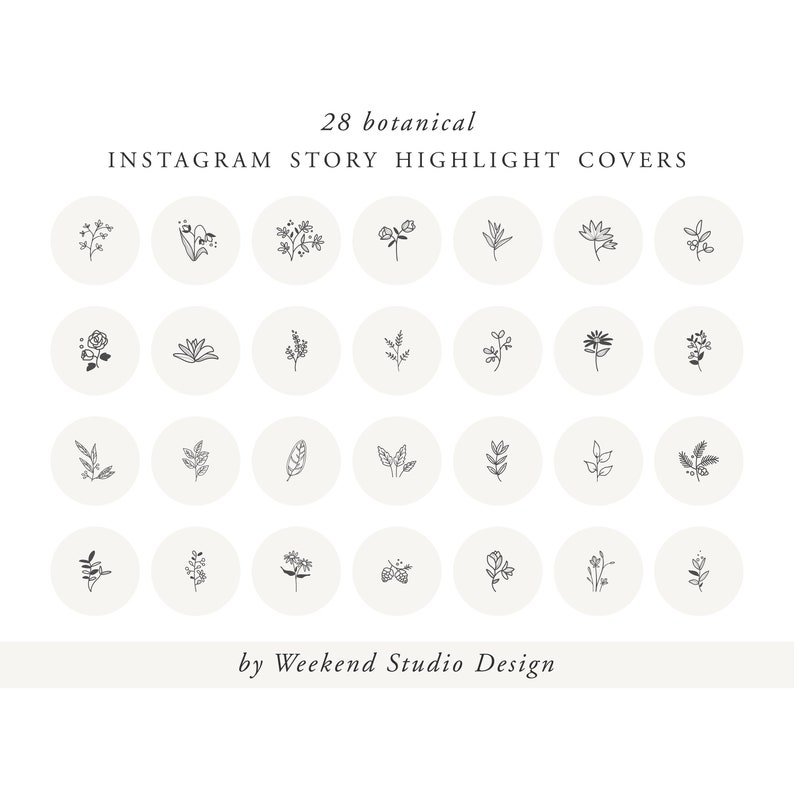 Instagram story highlight icon covers, botanical icons, hand drawn  highlight icons, social media icon, instagram cover set, instant download