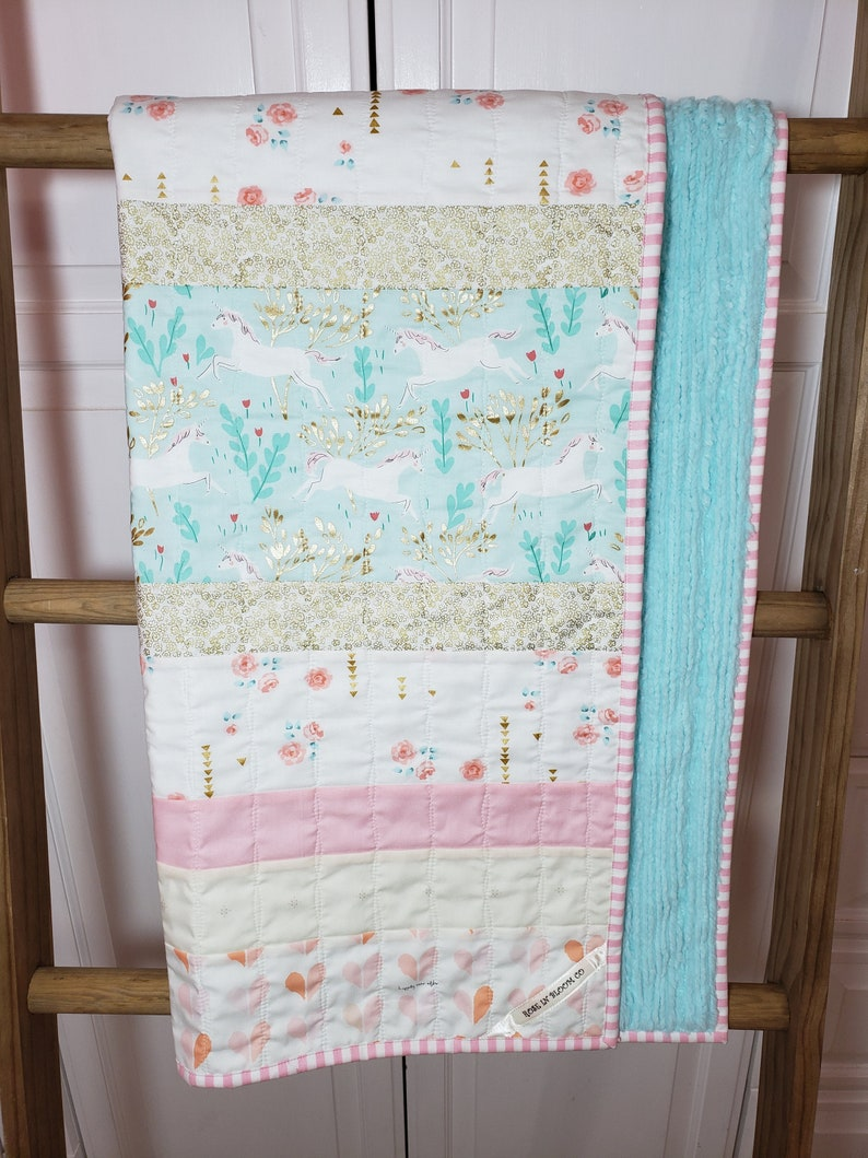 Minky Nursery Blanket Baby Quilt Floral Nursery Bedding Gold Unicorn Baby Girl Baby Girl Blanket Pink Saltwater