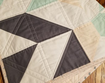 Handmade Modern Herringbone Quilt for Baby Girl/Toddler in Gray, Pink, Mint Green and White with Floral Back