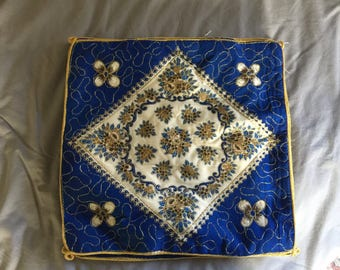 Vintage Handmade Blue Embroidered Flower Throw Pillow Case