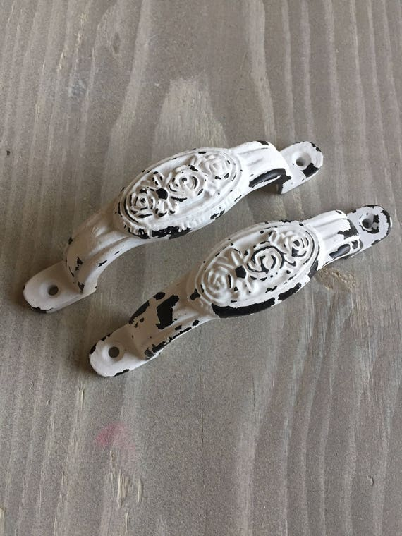 4 Inch White Distressed Antique Metal Drawer Pulls Handles Etsy