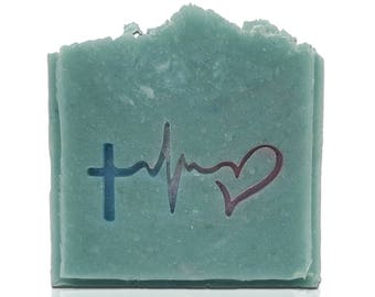 """Hope Faith Love Soap Stamp - Penetration 1.97"""" x 1.03"""" (50mm x 26mm) - Available with or without handle (no functional need for handle)"""
