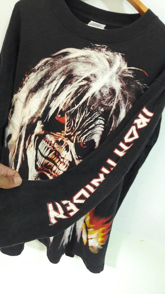90 s Iron Maiden screenstar Brave chemises de New World Tour taille L screenstar Maiden manches longues fullprint t / bandes de métal slayer megadeth typeO fièvre charbonneuse des années 80 de mode 6a8527