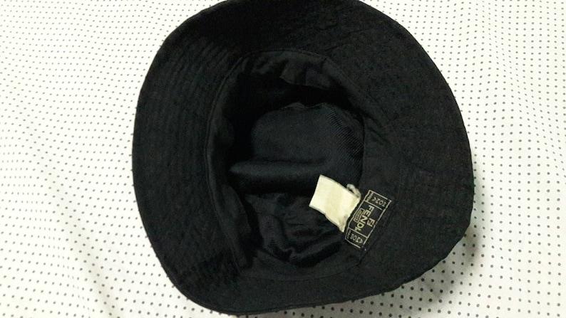 405318d92518e 90s Fendi Jeans Bucket Hat Made in Italy black monogram