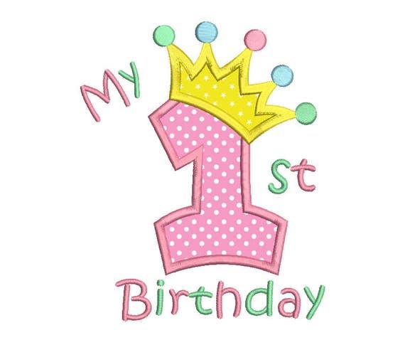 1 Geburtstag Applikation Stickerei Design Prinzessin Krone Etsy