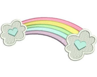 Rainbow Machine Embroidery Design, Fill Stitch, Hearts, Girl's Embroidery, Rainbow Embroidery, Clouds, 3 Sizes, Instant Download, No:SA574-1
