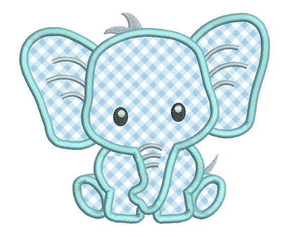 Baby Elefant Applikation Stickerei Design Niedliche Elefanten Etsy