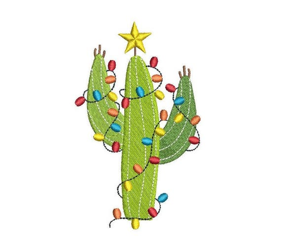 Cactus Machine Embroidery Design Christmas Embroidery Etsy