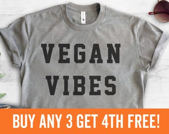 Vegan Vibes T-Shirt, Ladies Unisex Crewneck Shirt, Cute Vegan Shirt, Funny Vegan T-shirt, Gift, Short & Long Sleeve T-shirt