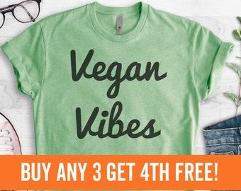 Vegan Vibes Shirt, Ladies Unisex Crewneck T-shirt, Cute Vegan Shirt, Funny Vegan T-shirt, Gift, Short & Long Sleeve T-shirt
