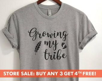 b178b27e9cc7b Growing My Tribe T-shirt, Ladies Unisex Shirt, Heather tee, Cute Pregnancy  Shirt, New Mom, Baby Announcement, Short & Long Sleeve T-shirt