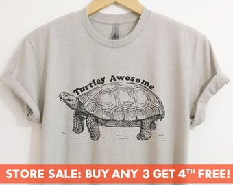 Turtley Awesome T-shirt, Ladies Unisex Crewneck Shirt, Animal T-shirt, Hipster Turtle Shirt, Short & Long Sleeve T-shirt