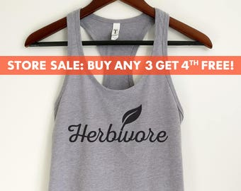 1a6bf87b2 Herbivore Tank Top, Cute Vegan tank, Funny Vegan tank top, Ladies Workout Tank  Top, Gym Tank Top, Yoga Tank