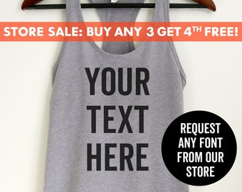 e9bb96e3fa CUSTOM TANK TOP, Send Us Your Saying - Personalized tank top, Custom Quote,  Customize tank, Ladies Tank Top