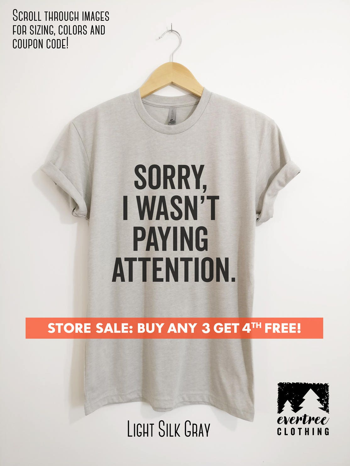 Sorry I Wasnt Paying Attention T Shirt Ladies Unisex Etsy