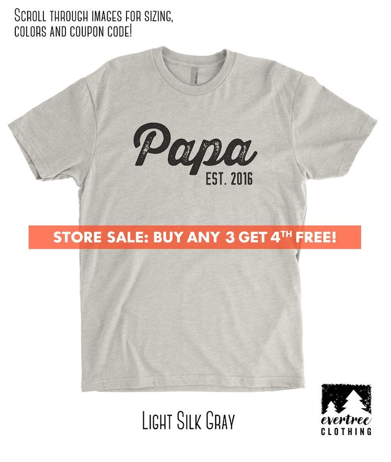 16fb07821 Papa Est. Customize Any Year T-shirt Men's Crewneck | Etsy