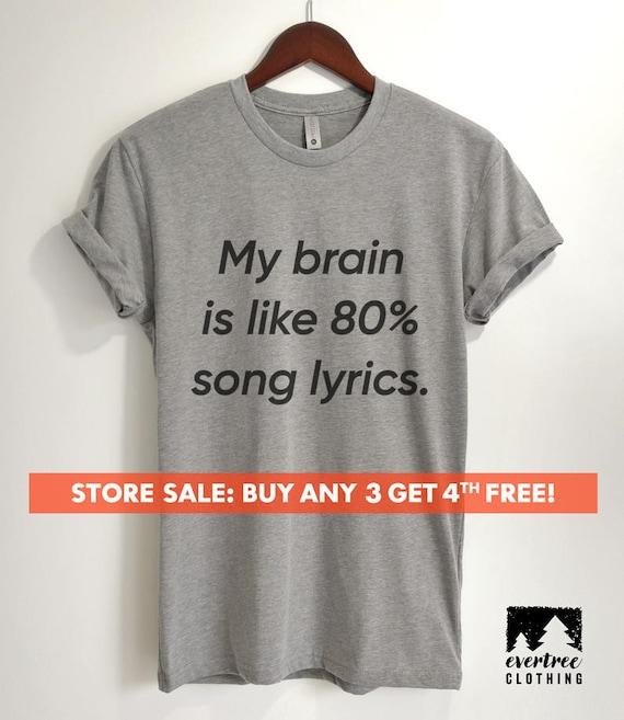 Womens Basic Short Sleeve Top Crew Neck T-Shirts My Brain is 80/% Song Lyrics