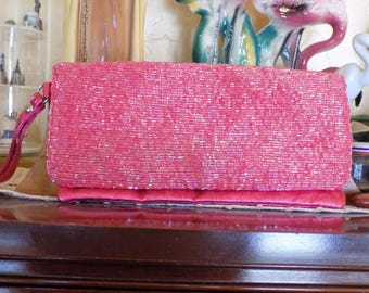 Fun 80's NY and C pink beaded clutch handbag, Metallic pink inside and back.
