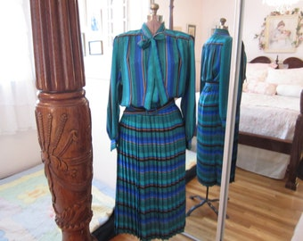 Flash back 1980's one piece blousey top and pleated skirt blue green