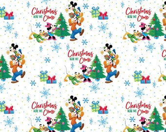 disney mickey and friends christmas here we come by springs creative fabric - Disney Christmas Fabric