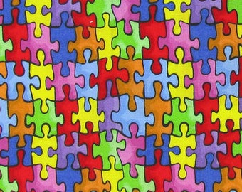 Autism Awareness fabric by Cotton Calico