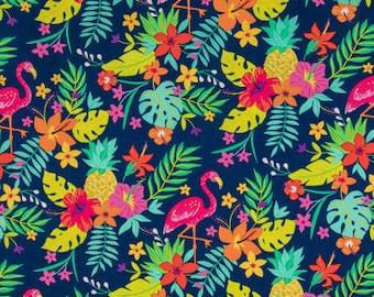 Tropical Leaf Flamingo by Cotton Calico fabric