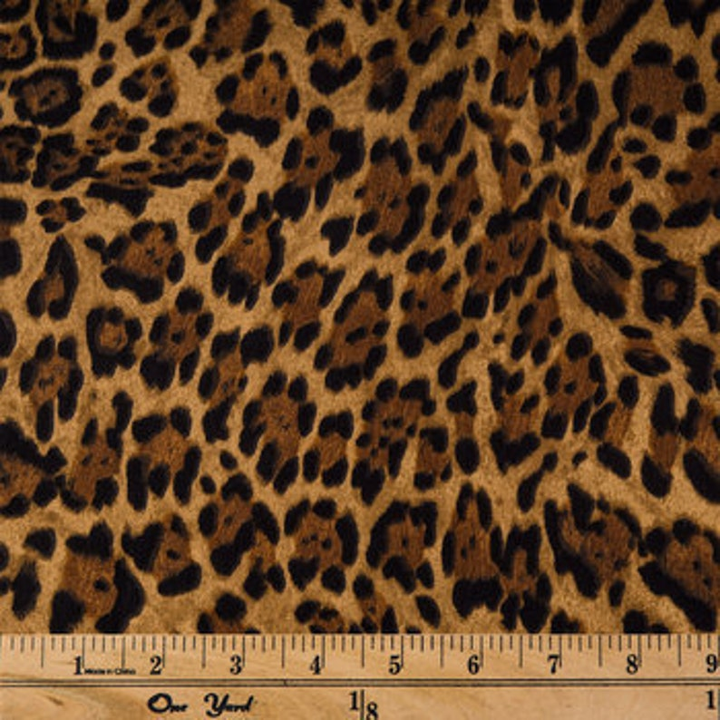 Brown Leopard Print Apparel Cotton fabric image 0