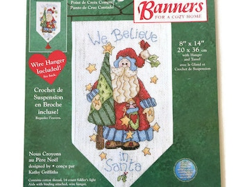 We Believe in Santa Counted Cross Stitch Banner Kit by Dimensions - Cross Stitch on Fabric with Metal Hanger - Santa Claus with Tree