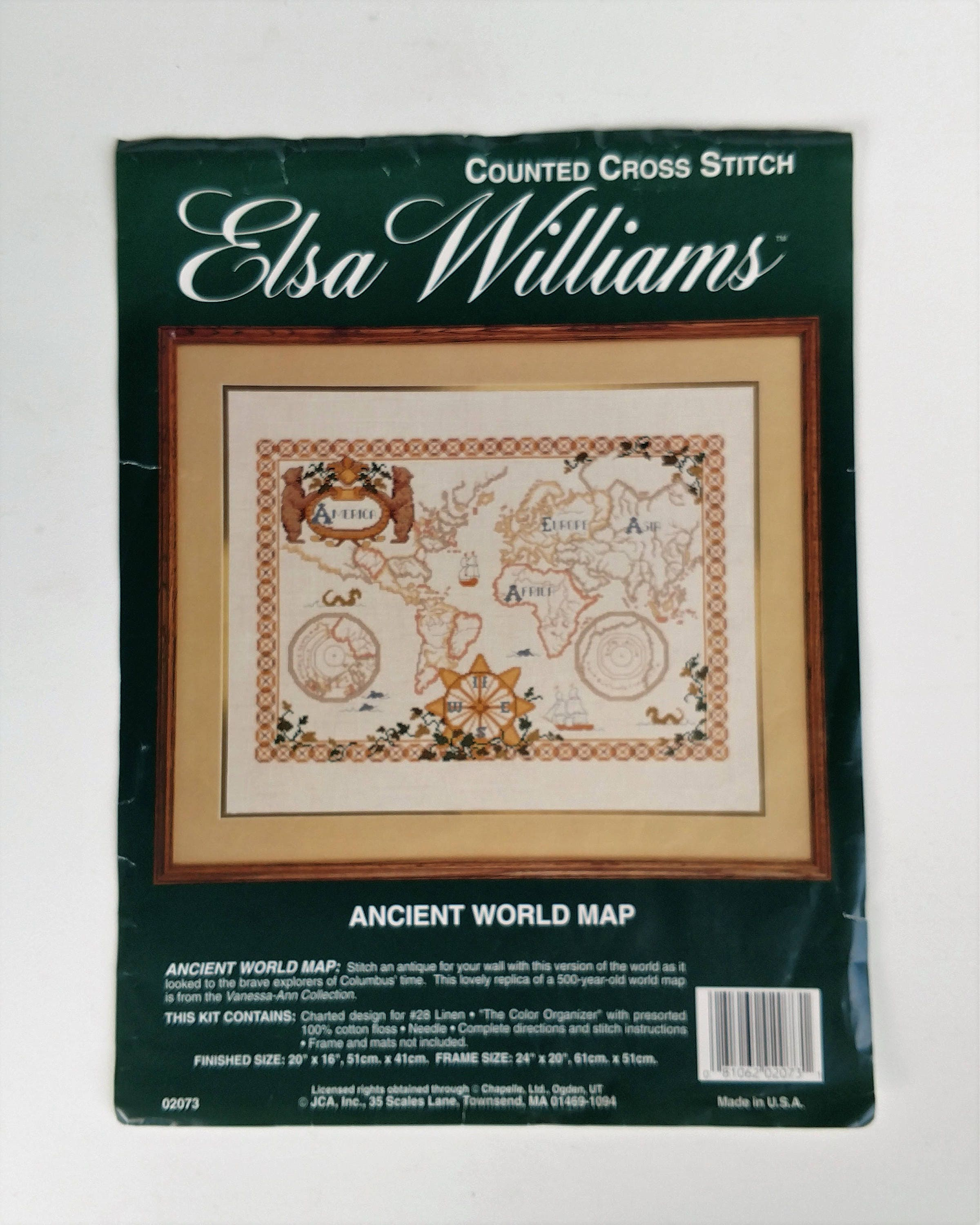 500 Year Old Map Of America.Elsa Williams Ancient World Map Counted Cross Stitch Kit By Vanessa Ann
