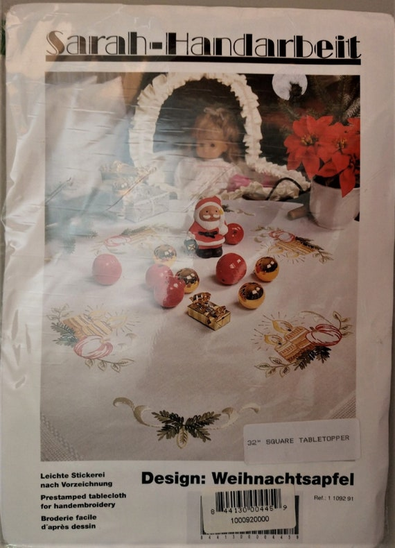 Vintage Christmas Apple Table Topper German Embroidery Kit by Sarah Handarbeit - 32
