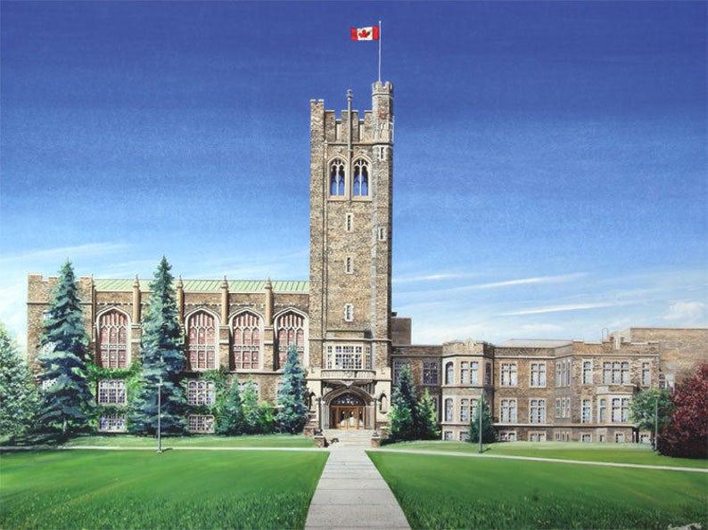 Western University Canada >> Western University London Ontario Canada Limited Edition Watercolour Art Print