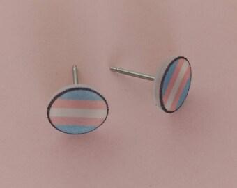 Transgender Pride Round Stud Earrings