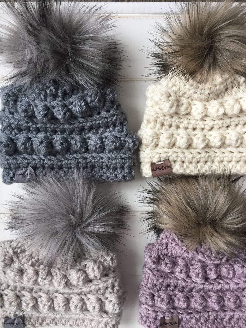 5d32484199d Newborn   Toddler Winter Hats with Faux Fur Pom BOBBLE HAT