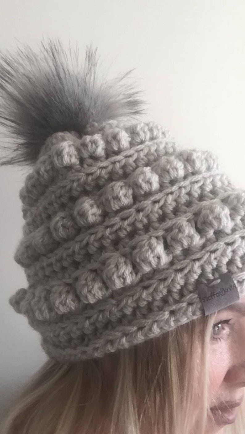 92ef603173c058 Adult Winter Hat with Faux Fur Pom BOBBLE HAT Modern | Etsy