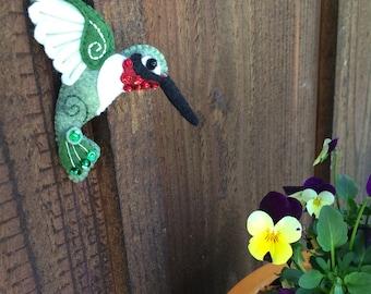Wool Felt Appliqued Hummingbird, wool felt bird ornament, spring bird decoration, hand sewn embroidered hummingbird, fabric bird ornament