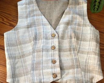Vintage 70/'s Wool Vest Plaid Black White With Pockets M