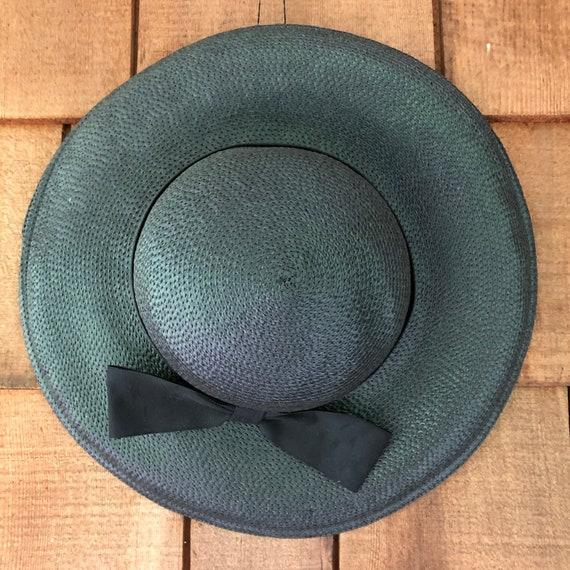 1950s vintage wide brim black straw hat, summer h… - image 1