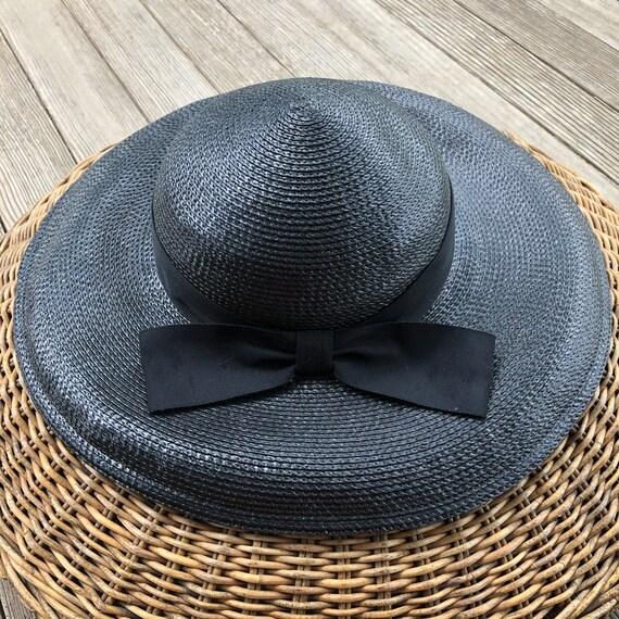 1950s vintage wide brim black straw hat, summer h… - image 2