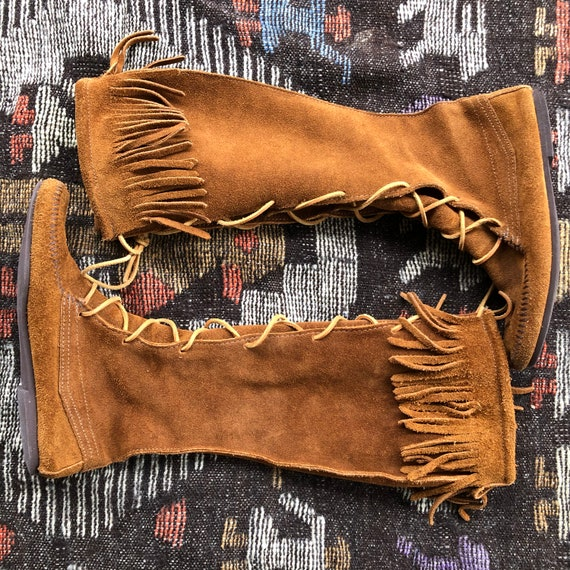 Vintage Minnetonka knee high suede fringed moccasi