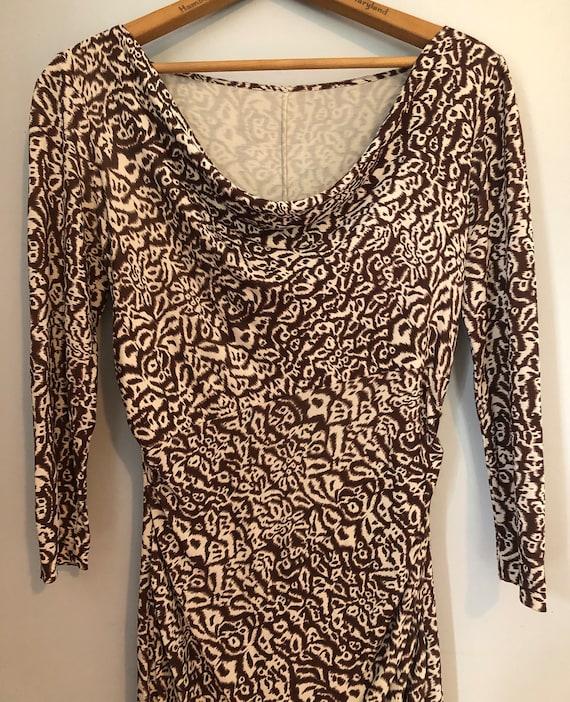 Vintage DVF dress, ikat, brown, bias cut, 1980s, s