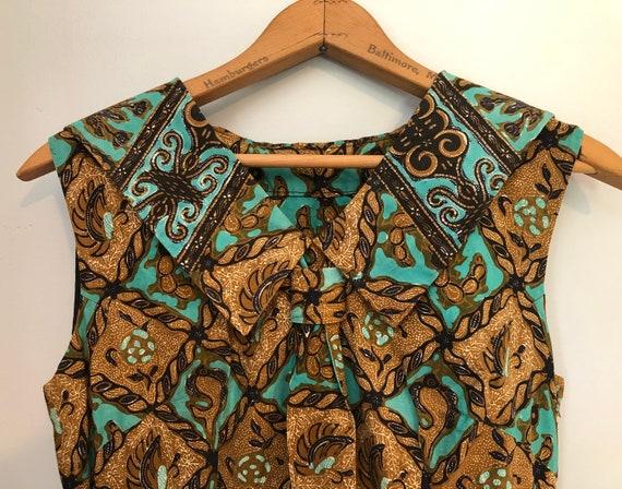 Vintage 40-50s batik dress, butterflies and centip