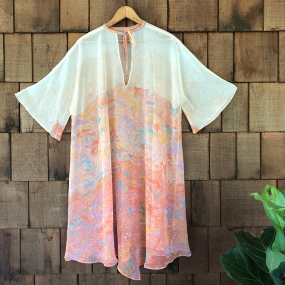 1970s vintage sheer marbled chiffon tunic dress in