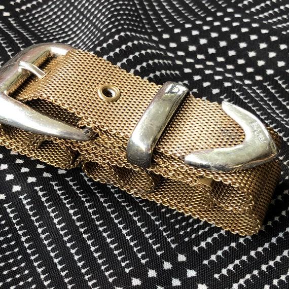 1980s Vintage Ralph Lauren Metal Mesh Belt with S… - image 5