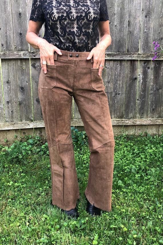 Vintage suede bell bottoms Vintage 90s does 60s brown suede pants.