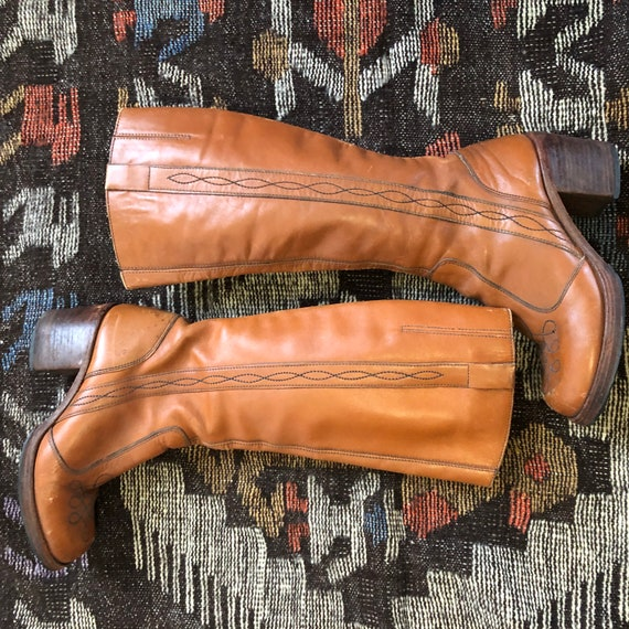 70s Tall Leather Boots | Chunky Stacked Heel | Det
