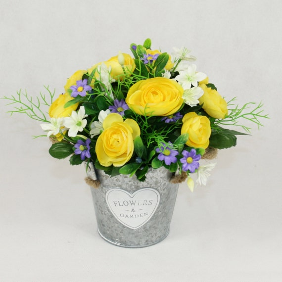 Silk Yellow Ranunculus In Zinc Bucket Artificial Flowers In Etsy