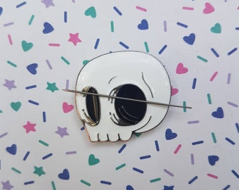 Skull needle minder for cross stitch or embroidery