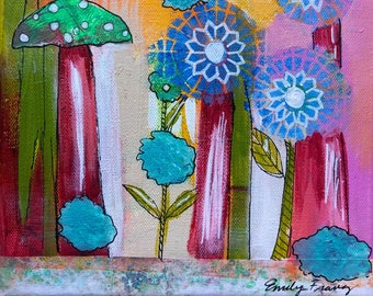 """Happy Abstract - Floral # 1 Original Painting - 8"""" X 8"""""""