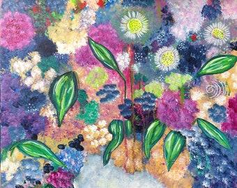 """Original Painting - Flower Series - Virginia Woolf - 20"""" X 20"""" X 2"""""""