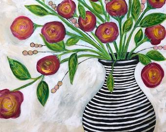 "Original Art Painting Billie Holiday Flower Series 24"" X 24"""